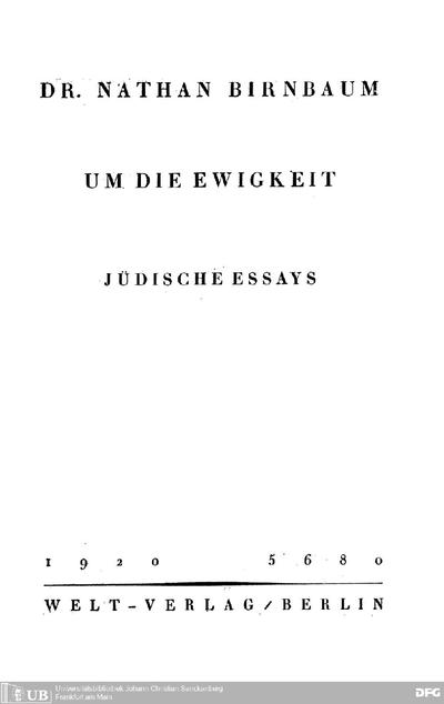 Um die Ewigkeit : jüdische Essays