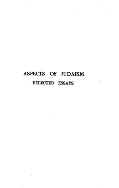 Aspects of Judaism : selected essays
