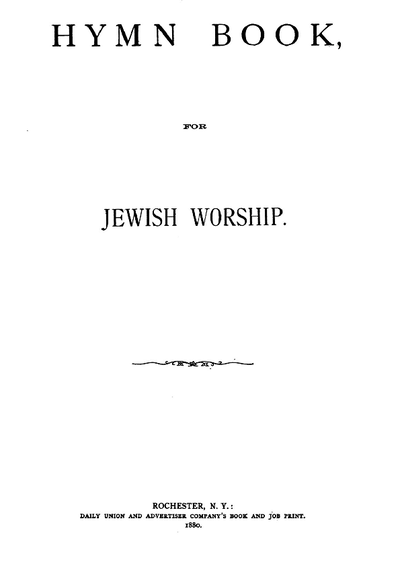 Hymn book, for jewish worship