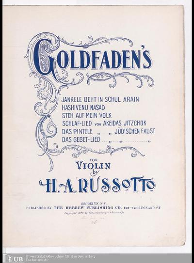 Goldfaden`s Jankele geht in schul arain. For Violin