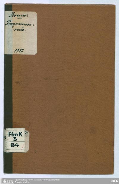 Programmrede : gehalten von ... Raphael Breuer im Volksbildungsheim zu Frankfurt am Main am 17. Mai 1927, 15. Ijar 5687