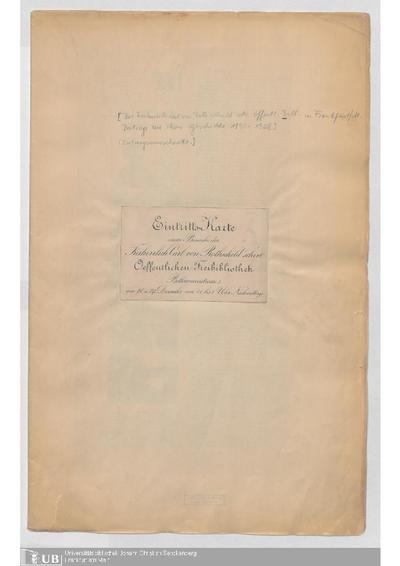 Die Freiherrlich Carl von Rothschild'sche öffentliche Bibliothek in Frankfurt am Main : Beiträge zu ihrer Geschichte, 1890-1928 ; Zeitungsausschnittsammlung