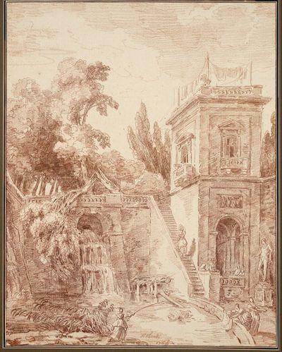 Hof einer italienischen Gartenvilla, von der Fontana dell'Organo der Villa d'Este in Tivoli inspiriert