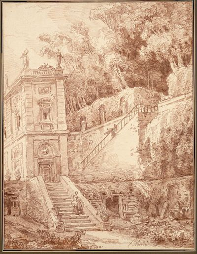 Teilansicht einer italienischen Gartenvilla, von der Villa d'Este in Tivoli inspiriert