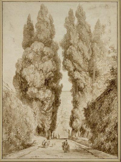 Die große Zypressenallee im Park der Villa d'Este in Tivoli