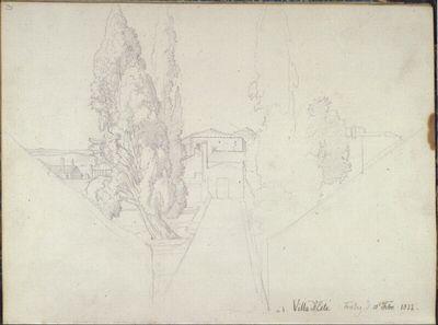 Römisches Skizzenbuch: um 90° nach links gedreht: Zypressenallee im Park der Villa d'Este in Tivoli