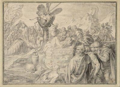 Ulysses läßt einen Scheiterhauf für den toten Elpenor errichten und nimmt Abschied von Kirke