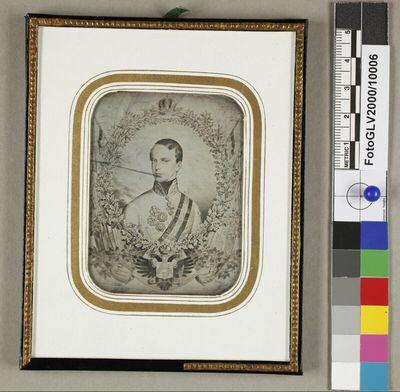 Kupferstich mit Bildnis des jungen Kaisers Franz Josef I. in Eichenblattumrahmung
