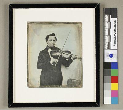 Angebliches Bildnis von Johann Strauss Vater, Dreiviertelfigur, mit angesetzter Geige