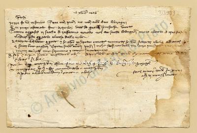 Lettera di Comi Niccolao a Datini Francesco Di Marco e Comp., 02/11/1406, carte 1