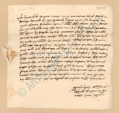 Lettera di Hipolit Perpinya a Datini Francesco Di Marco e Bellandi Simone Di Andrea e Comp., 23/10/1404, carte 1. Scritta in catalano,