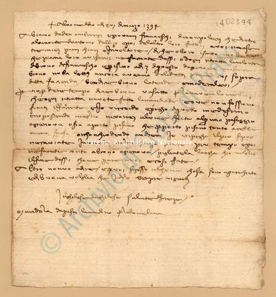 Lettera di Inghilese Di Inghilese a Lanfranchi Niccolò, 16/03/1395, carte 1