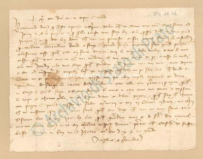 Lettera di Grimaldi Angelo a Niccolino Di Lippo, 25/09/1400, carte 1