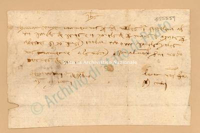 Lettera di Comi Francesch a Luca Del Sera, 29/12/1401, carte 1. Scritta in catalano, stava nella busta n. 1007