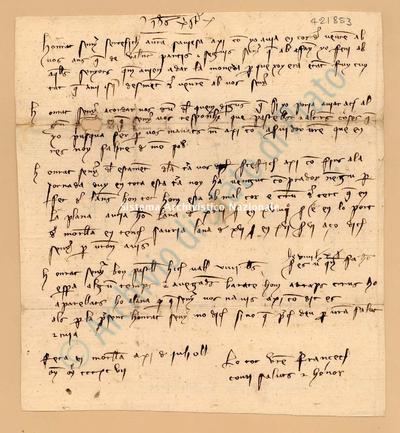 Lettera di Comi Francesch a Luca Del Sera, 11/07/1397, carte 1. Scritta in catalano,