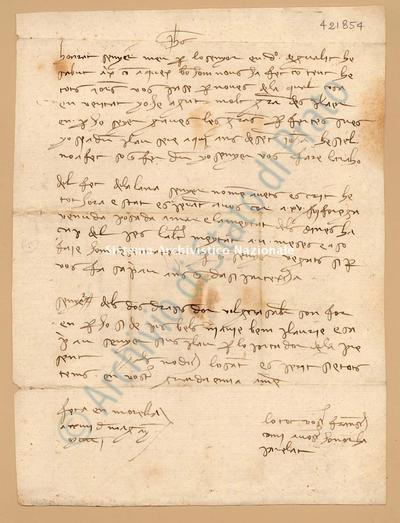 Lettera di Comi Francesch a Luca Del Sera, 24/05/1401, carte 1. Scritta in catalano,