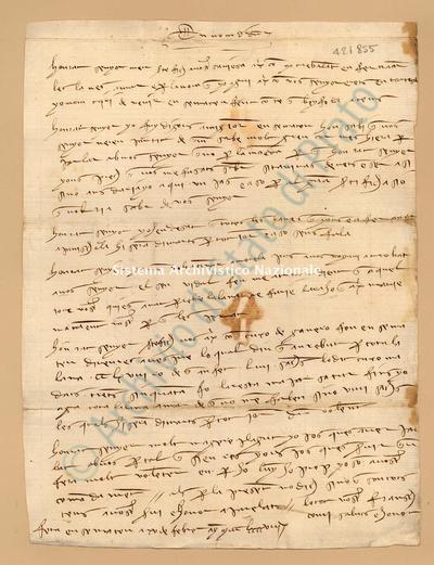 Lettera di Comi Francesch a Luca Del Sera, 15/02/1398, carte 1. Scritta in catalano,
