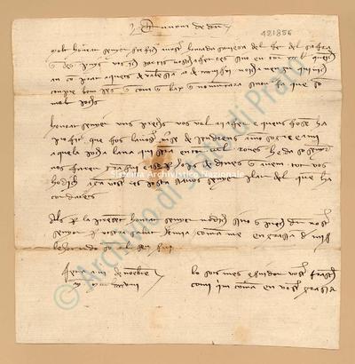 Lettera di Comi Francesch a Luca Del Sera, 03/11/1399, carte 1. Manca luogo di partenza, scritta in catalano, dati presunti stava nella busta n. 1005