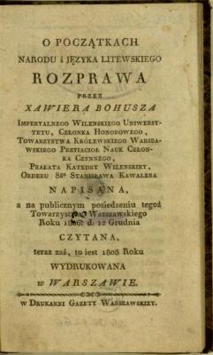 O początkach narodu i języka litewskiego rozprawa
