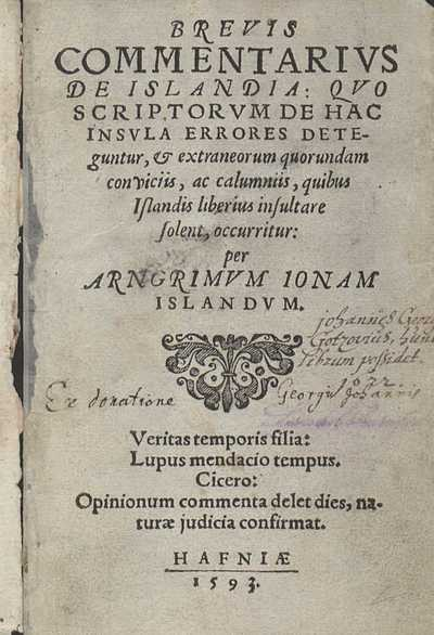Brevis commentarius de Islandia