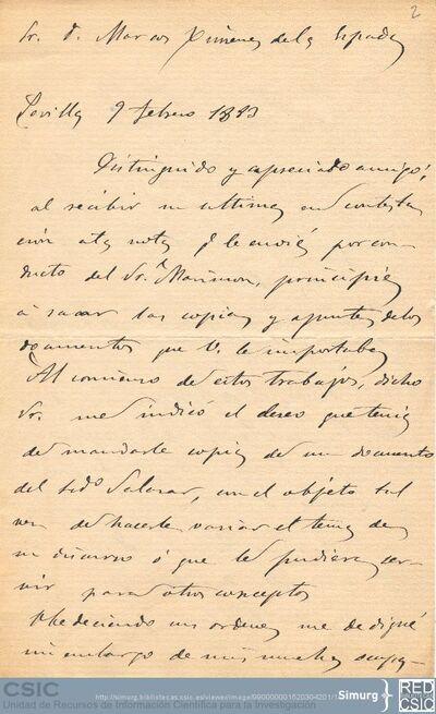 Francisco J. Delgado pide disculpas a Marcos Jiménez de la Espada por el retraso en la copia de unos documentos y le comunica que no debe abonarles nada por dicho trabajo