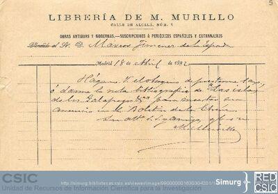 El librero M. Murillo solicita a Marcos Jiménez de la Espada los datos bibliográficos de Las islas de los Galápagos para incluir su anuncio en el Boletín de la librería