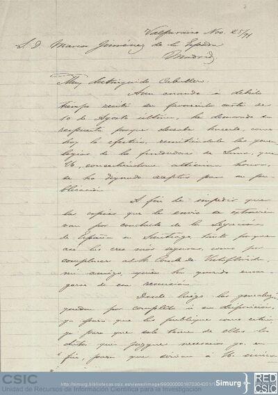 Enrique Torres Saldamando envía a Marcos Jiménez de la Espada las genealogías de los fundadores de Lima y le anuncia el envío de unas anotaciones para la Historia de Lima