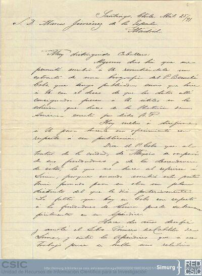 Enrique Torres Saldamando comunica a Marcos Jiménez de la Espada el envío de la biografía del Padre Bernabé Cobo para la edición de la Historia de América que prepara
