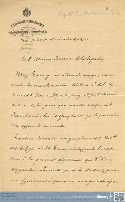 Collantes comunica a Marcos Jiménez de la Espada el envío de unos ejemplares del tomo primero de la obra del Padre Cobo y de la Historia del Colegio de Santo Tomás