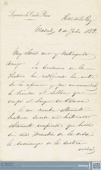 Manuel María de Peralta comunica a Marcos Jiménez de la Espada que por unanimidad han decidido en la Academia de la Historia ofrecerle el sillón del duque de Osuna