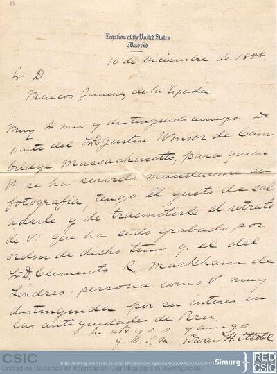 Edward H. Strobel comunica a Marcos Jiménez de la Espada que su retrato que envió a Justín Winsor ha sido grabado junto con otro de Clements R. Markham