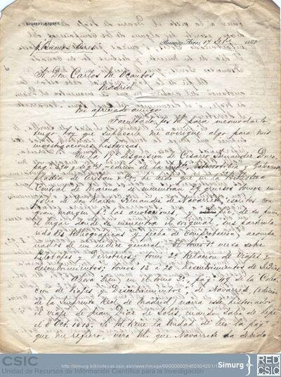 Eduardo Madero solicita información a Carlos María Ocantos sobre el descubrimiento del Río de la Plata y le pide que se ponga en contacto con Marcos Jiménez de la Espada para conseguir dicha información