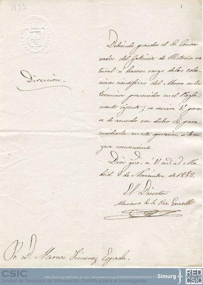 Graells solicita a Jiménez de la Espada que ayude al conservador del Gabinete de Historia Natural a hacerse cargo de las colecciones científicas del Museo