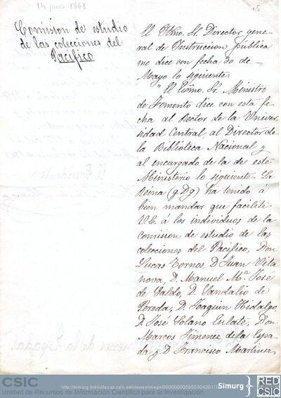 Méndez Alvaro comunica a Jiménez de la Espada la solicitid del Ministro de Fomento a la Universidad Central y Biblioteca Nacional que faciliten los libros necesarios para el estudio de las colecciones