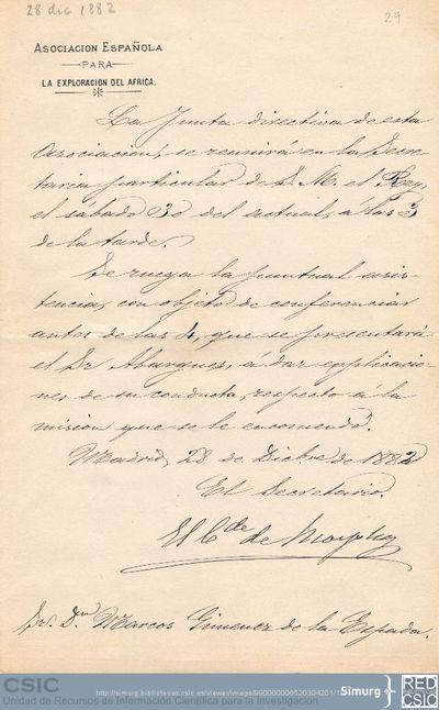 El Conde de Morphy convoca a Marcos Jiménez de la Espada a una reunión de la junta directiva de la Asociación Española para la Exploración del Africa y le pide que sea puntual