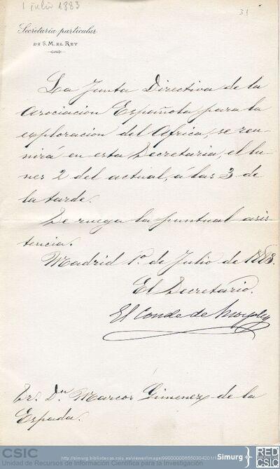 El Conde de Morphy informa a Marcos Jiménez de la Espada sobre una reunión de la Asociación Española para la Exploración del Africa en la Secretaría particular del Rey