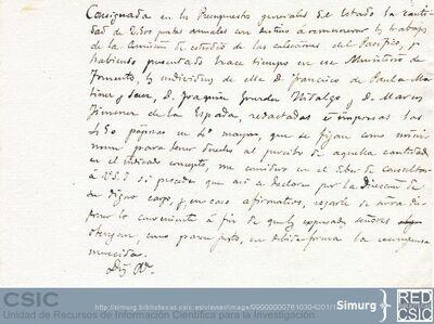 Jiménez de la Espada reclama al Ministerio de Fomento el dinero que habían prometido a los miembros de la Comisión Científica para el Estudio de las Colecciones del Pacífico