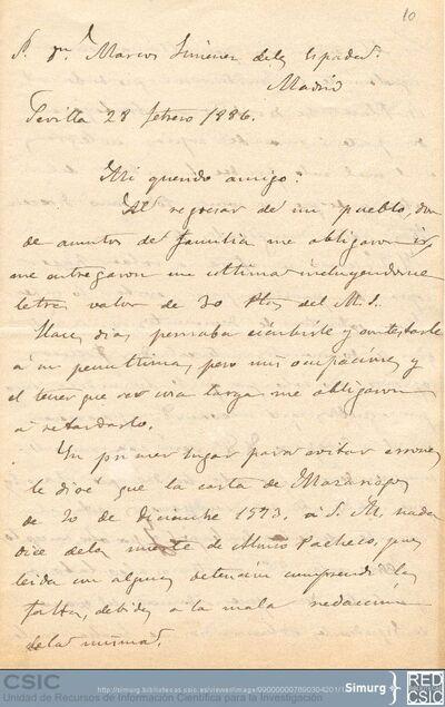 Francisco Javier Delgado propone a Marcos Jiménez de la Espada la contratación de un escribiente a cargo de la Comisión de Límites para que trabaje en las copias encargadas al Archivo de Indias