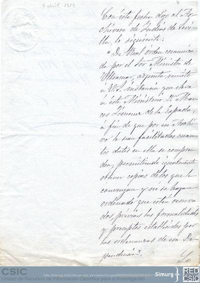 El Subsecretario interino del Ministerio de Ultramar comunica a Marcos Jiménez de la Espada que se ha enviado al archivo de Indias la Real Orden que le autoriza a consultar la documentación que de allí precise