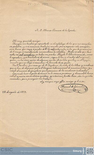 Manuel de Goicoechea envía a Marcos Jiménez de la Espada una leyenda de los indios marañones y le remite una nota de Cayetano Rosell en la que se indican los libros que hay que preparar para el Congreso Internacional de Americanistas