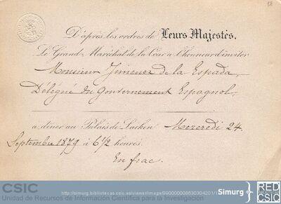 Invitación a Marcos Jiménez de la Espada, como Delegado del Gobierno español en el Congreso Internacional de Americanistas de Bruselas, para una cena presidida por los reyes belgas en el palacio de Laeken