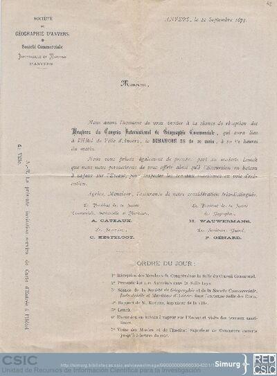 La Société de Géographie d'Anvers y la Société Commerciale Industrielle et Maritime d'Anvers invitan a Marcos Jiménez de la Espada a una recepción para los miembros del Congreso Internacional de Geografía Comercial