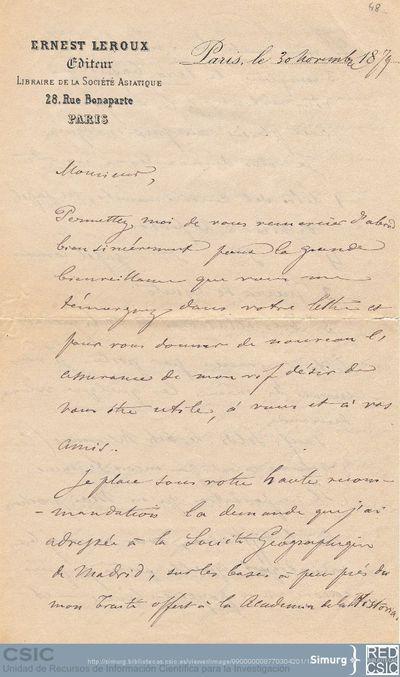 Ernest Leroux solicita a Marcos Jiménez de la Espada firmar un acuerdo comercial con la Sociedad Geográfica de Madrid como el que ha realizado con la Academia de la Historia y pide que le envíe unos libros