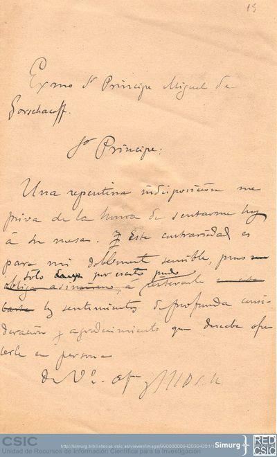 Marcos Jiménez de la Espada pide disculpas al príncipe Alejandro Mijailovich Gorchacov por no poder asistir a una cita que tenían por una indisposición repentina