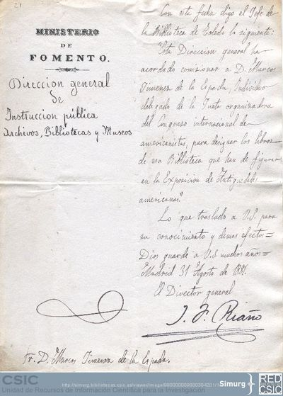 Juan Facundo Riaño comunica a Marcos Jiménez de la Espada que le conceden permiso para seleccionar los libros que interesen para la Exposición de Antigüedades Americanas que se celebra con motivo del Congreso de Americanistas