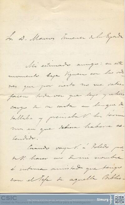 Andrés Domec recomienda a Marcos Jiménez de la Espada que cuando vaya a la Biblioteca de Toledo lo haga en su nombre, ya que es amigo del jefe de dicha biblioteca