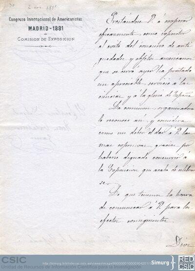 El duque de Veragua y Juan Catalina García agradecen a Marcos Jiménez de la Espada su participación en la Exposición que se celebró con motivo del Congreso de Americanistas de Madrid