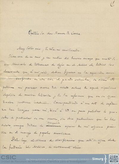 Marcos Jiménez de la Espada comenta a Ramón R. Correa la ordenación del fondo del Archivo de Indias y le propone algunos cambios que facilitarían la búsqueda de información