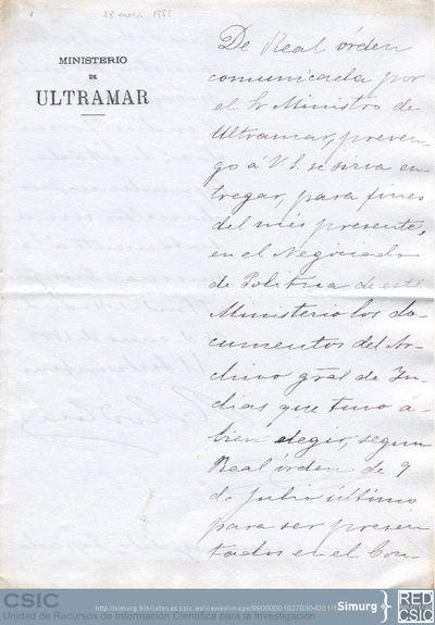 Ramón Rodríguez Correa solicita a Marcos Jiménez de la Espada la devolución de los documentos que seleccionó del Archivo de Indias para el Congreso de Americanistas de Madrid