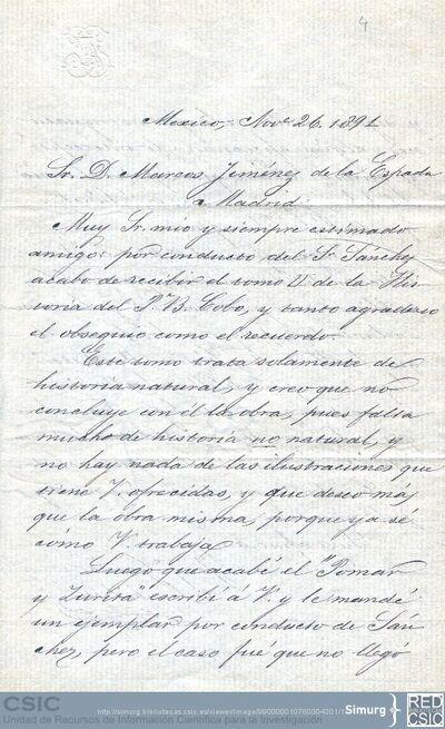 Joaquín García Icazbalceta agradece a Marcos Jiménez de la Espada el segundo tomo de la obra del Padre Cobo que ha recibido y le anuncia el envío de una obra suya que acaba de terminar